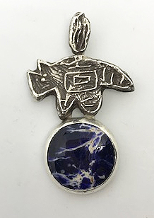 natural silver pendant with sodalite cabuchon