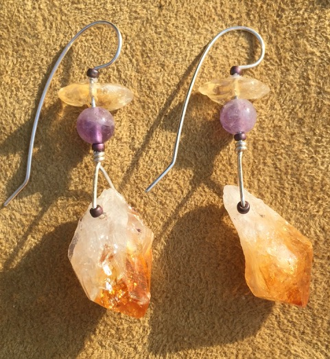Yellow Citrine and Purple Amethyst Silver Pair of Earrings