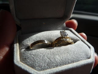 His and hers yellow gold and diamond wedding rings
