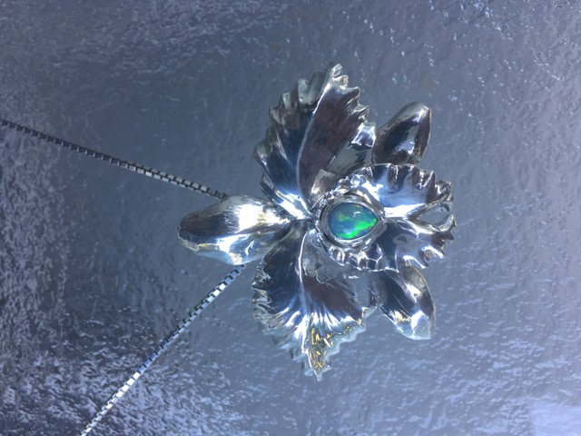 Large silver orchid pendant necklace with black opal
