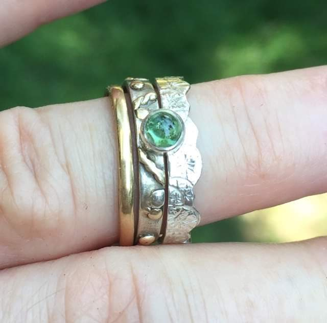 Green tourmaline silver ring that is stackable