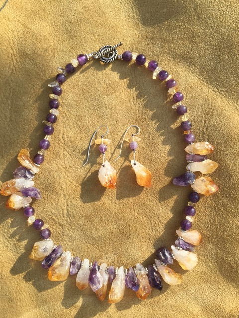 Yellow citrine and purple amethyst beaded necklace and earring set