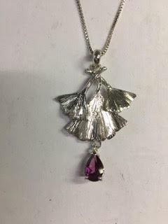 Pink grape Rhodolite garnet and sterling silver gingko leaves necklace