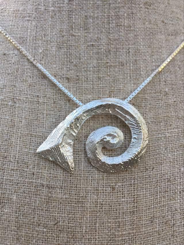 Hawaiian Silver Spiral Cuttlefish Casting Necklace